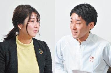 マーケティング課リーダー・小林朋さんと、商品開発課リーダー・石山隆一さん