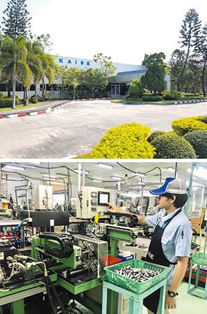 カイセタイランドの外観(上)と工場。400名の従業員が働 いている。